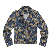 [ROMANTIC CROWN] WORLD MAP CAMO RIDER JACKET_BEI