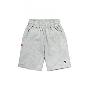 LT skull patch sweat shorts gray