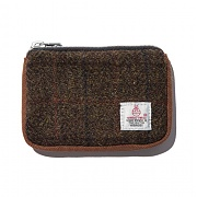 [디얼스] HARRIS TWEED CARD ZIP WALLET - BROWN