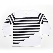 에이치이 Half Stripe Long Sleeve White
