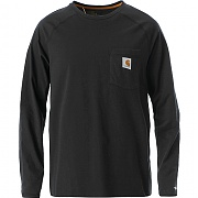 칼하트 포스 코튼 긴팔티 블랙 (CARHARTT FORCE COTTON LONG-SLEEVE T-SHIRT BLACK)