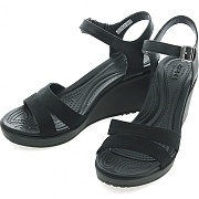 크록스 레이웨지 2 앵클 스트랩 W 블랙 (CROCS LEIGH II ANKLE STRAP WEDGE W BLACK/BLACK)