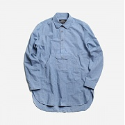 Check anorak long shirt _ l.blue