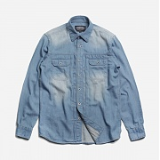 Washed denim trucker shirt _ l.blue