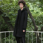 OVERFIT HOOD WOOL COAT(BLACK)