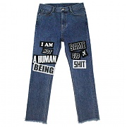 아임낫어휴먼비잉 The Legendary Out Patched Denim Jean - Blue
