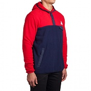 허프 HUF POLAR FLEECE PULLOVER SNAP HOOD (NAVY/RED)