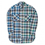 모티패스트 Motifest - Garments Half Zip Check Shirt (Blue/Green)
