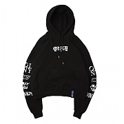 [온리아이엠]ALL LOGO WIDE HOODIE_BLACK