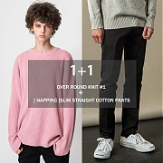 (단독1+1)어커버 Over Round Knit #1 + [기모] Slim Straight Cotton Pants