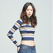 로맨틱크라운 Womans Striped Half Turtleneck_Navy
