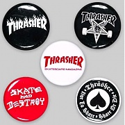 THRASHER LOGO BUTTONS (5-PACK)