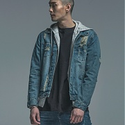 [드로우엠]D4-S24 - Imbalance Arm Zip Denim Jaket