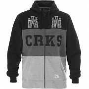 크룩스앤캐슬 집 업 후드 블랙 (CROOKS&CASTLE Mens Zip-Up Hoodie-2 Castle Zip Hoodie BLACK)