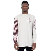 세인트쇼(SAINTSHOW) HALF STRIPE LONG SLEEVE T - ECRU/BURGUNDY