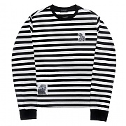 모티패스트 Motifest - Garments Stripe Patch Long Tee (White)