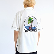 오버사이즈해프닝 NIGHT BEACH OPEN COLLAR SHIRTS WHITE