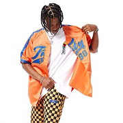 FNTY Satin Baseball Jersey Orange