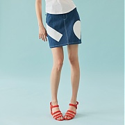 바니앤블랜치 PRINTED DENIM SKIRT (NAVY)