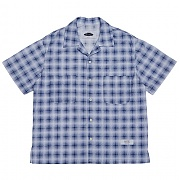 콰이어티스트 Solid Check Open-collar Shirts (blue)
