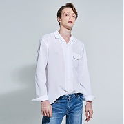 얀13 WIDE COLLAR SLEEVE SHIRTS_WHITE