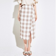 얀13 CHECK WRAP SKIRT_BEIGE
