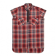 모티패스트 Motifest - Garments Half Sleeveless Zip Check Shirt (Red)