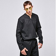 얀13 V-NECK LONG SHIRTS_BLACK