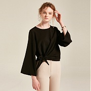 얀13 RIBBON POINT BLOUSE_BLACK