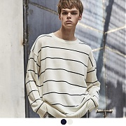 어커버 NARROW STRIPE CREWNECK SWEATER