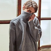 얀13 OVERSIZED SPICHINO TURTLE SWEATER_GRAY