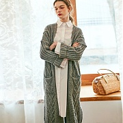 얀13 CLASSIC MOOD LONG CARDIGAN_GRAY