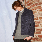 얀13 BLACK LABEL SUEDE BLOUSON_NAVY