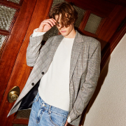 얀13 TOM CHECK BLAZER_GRAY