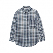 유미츠(Unisex) Seersucker Check Shirts_Grey