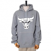 CHICAGO BULLS BLACK/WHITE LOGO CREW HOODY - GREY