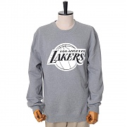 LA LAKERS BLACK/WHITE LOGO CREW SWEATSHIRTS - GREY