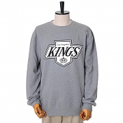 LA KINGS BLACK/WHITE LOGO CREW SWEATSHIRTS - GREY