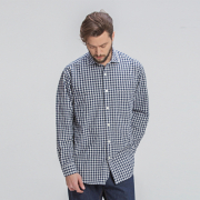 프리즘웍스 Comfy gingham check shirt _ blue
