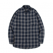 기프트오리지널 (UNISEX) Eriza Check Shirt (Navy)